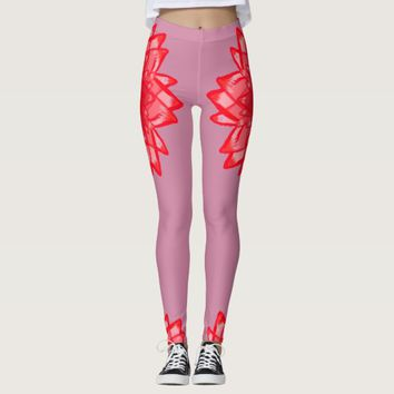 Red flower pattern your color customizable legging