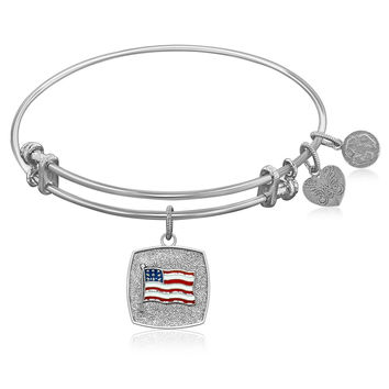 Expandable Bangle in White Tone Brass with American Flag Symbol