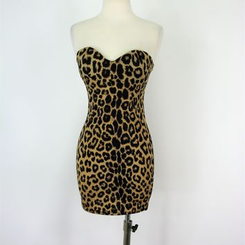 F.I.T Figure Improving Technology Strapless Leopard Print Shapewear Slip Dress S