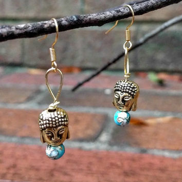 Buddha Head Earrings with Chinese Cloisonne beads