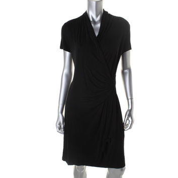 Karen Kane Womens Faux-Wrap Cap Sleeves Casual Dress