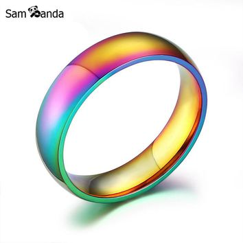 2017 Fashion High Quality Classic Men Women Rainbow Colorful Ring Titanium Steel Wedding Band Ring Width 6mm Size 5-13 sa7002