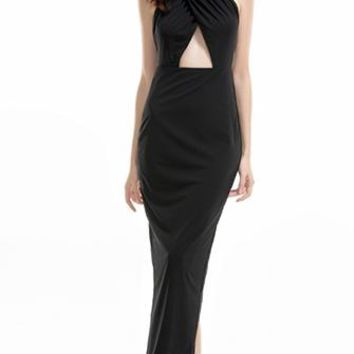 Mission Accomplished Black Sleeveless Spaghetti Strap X Back Halter Cut Out Waist Maxi Casual Dress