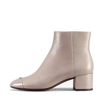 Tory Burch Shelby Grey Leather Ankle Booties, Dust Storm