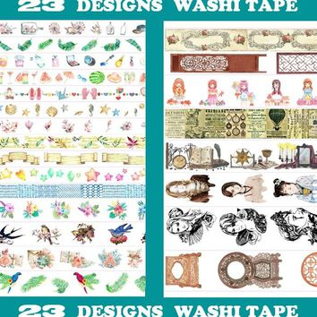 23Designs NEW Star/Flowers/Girls/Birds/Butterfly Pattern Japanese Washi Decorative Adhesive DIY Masking Paper Tape Sticker Label