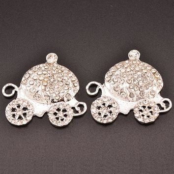 Princess Rhinestone Carriage Button Flat Back 20pcs 30MMX32MM