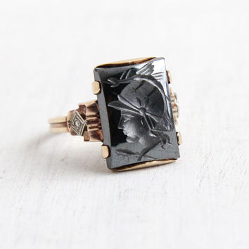 Antique 10k Rosy Yellow Gold Roman Warrior Hematite & Diamond Cameo Ring - Size 6 1/4 Art Deco Carved Intaglio Shiny Gray Stone Fine Jewelry