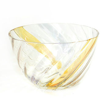 Bohemia Glass Bowl, Handmade in Czechoslovakia - Ribbed, Scalloped Design, Luster Iridescent Amber Orange Stripes - Vintage Home Kitchen
