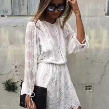 Spring and summer new lace holiday dress women's explosion sexy embroidered beach skirt