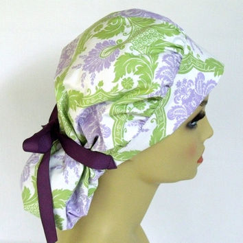 Women's Bouffant Scrub Hat or Cap Lime and Lavender