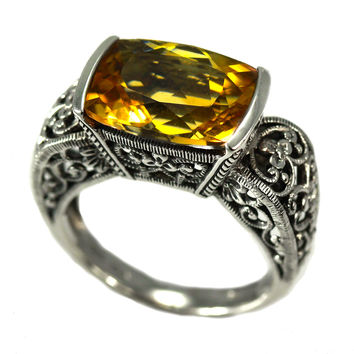 Sterling Silver Emerald Cut Victorian Style Citrine Ring