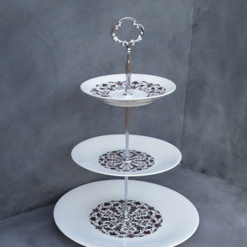 Tiered Cake Plate, Brown & White Stamped Pattern, China Cupcake Stand, Dessert Plate Stand 168