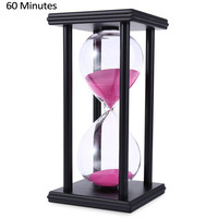 Stylish Ornament 60 Minute Sand Hourglass Countdown Timing Modern Wooden Sandglass Sand Clock Timer Home Decoration Wooden Frame