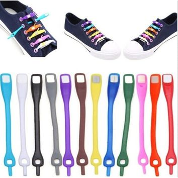 Sneakers Running 12pcs/Lot New Walking Silicone No Tie Shoelaces Elastic