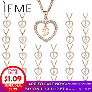 IF ME Romantic Gold Color Cubic Zirconia Love Heart Crystal Pendant Letter Name Necklace Charms Women 26 Letters Choker Jewelry