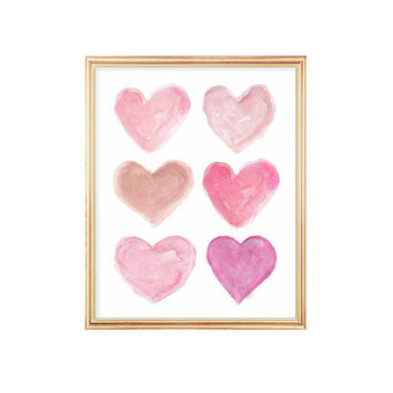 Pink Girls Wall Art, Pink Nursery Art, 8x10 Watercolor Heart Print, Pink Nursery Decor, Baby Girl Nursery Art, Pink Nursery Watercolor