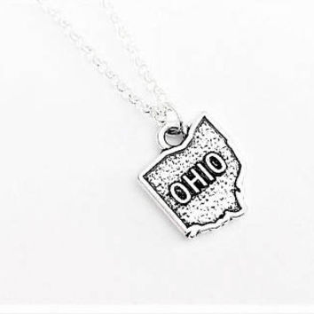 Ohio necklace, Ohio charm necklace, home state jewelry, silver necklace, Ohio pendant necklace, country necklace, Ohio outline, personalized