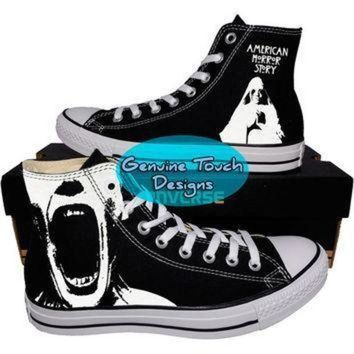 ICIK1IN custom converse ahs american horror story fanart shoes custom chucks painted shoe