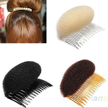 DCCKHY9 New 1pc Hair Styler Volume Bouffant Beehive Shaper Roller Bumpits Bump Foam On Clear Comb Xmas Accessories 1NN7 6OPX