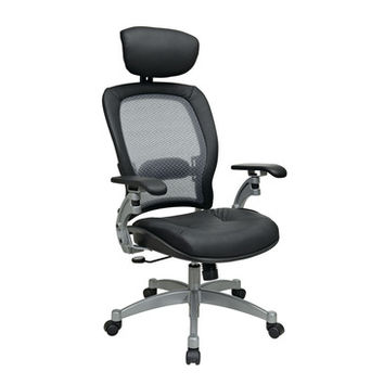 Space Seating 36 Series Professional Light AirGrid Back Chair w/ Adjustable Headrest & Platinum Finish Accents - Cantilever Arms