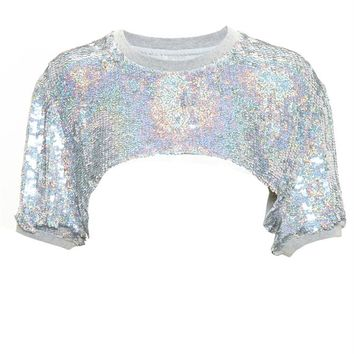 Sequinned Crop Top - FILLES A PAPA