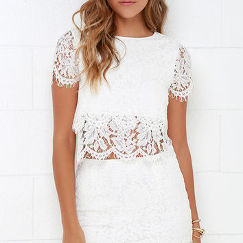 Turn Back Time Ivory Lace Two-Piece Dress