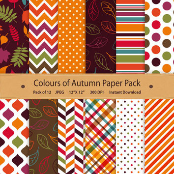 Digital Paper Colours of Autumn Scrapbook Memory Keeping Supplies September October Download Background Colors Purple Brown Green Orange Red