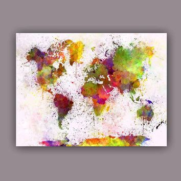 Large Watercolor Canvas Art Picture Maps World Map Wall Painting Colorful Art Prints For Living Room Office Meeting Room Decors