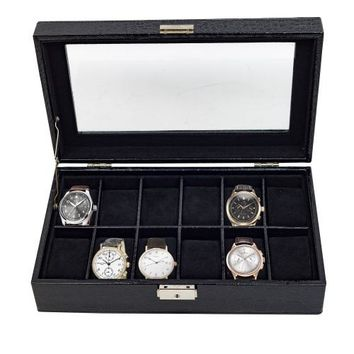 12 Piece Black Patent Croc Watch Display Case Collection Women's Jewelry Box Storage Glass Top