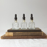 3 Vintage Wheaton Glass Apothecary Bottles with Rubber Tip Droppers, Medicine Bottles, Mad Scientist Halloween Decor