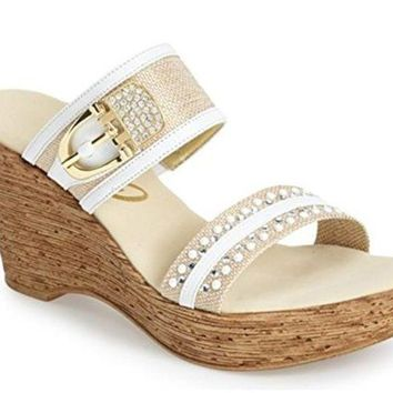 MDIGYW3 Onex Bettina White Leather Wedge Sandals