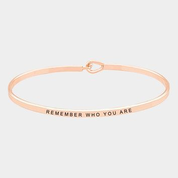 """remember Who You Are"" Brass Thin Metal Hook Bracelet"