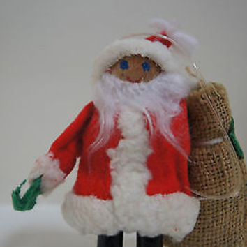 Wood Santa & Gift Bag Vintage Christmas Ornament 1950's Japan