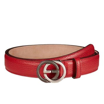 Gucci Leather Belt With Interlocking G Buckle 95 / 38 $450
