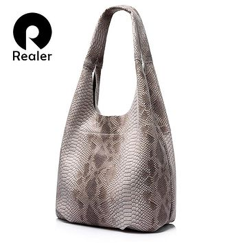REALER brand new women genuine leather tote bag serpentine pattern shoulder bag large capacity female handbag