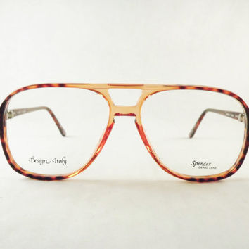 Mens Eyeglasses, Big Geeky Tortoise Shell Aviator Glasses, Fox Brown Glasses, New Old Stock Frames