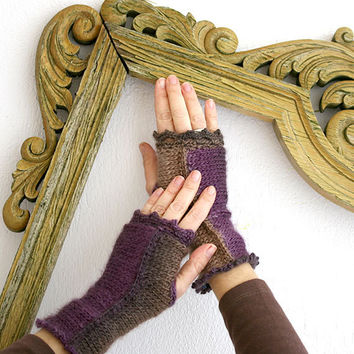 Elegant woman gloves in purple, brown, ecru, Romantick crochet gloves, knit & crochet fingerless gloves, lace gloves, crochet arm warmers