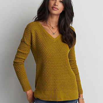 AEO Textured V-Neck Sweater , Chartreuse