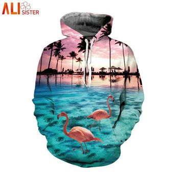 Alisister Flamingo Hoodies EUR Size Men Women Sweatshirt 3d Hawaii Style Autumn Winter Hooded Jacket Hip Hop Tracksuit Pullover