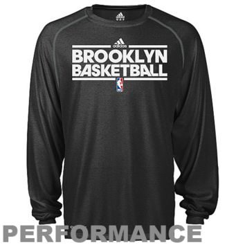 adidas Brooklyn Nets Youth ClimaLITE Heathered Performance Long Sleeve T-Shirt - Black - http://www.shareasale.com/m-pr.cfm?merchantID=7124&userID=1042934&productID=528244090 / Brooklyn Nets