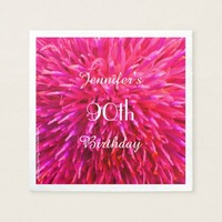 Pink, Hot Pink Paper Napkins 90th Birthday Party