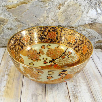 Vintage Satsuma Moriage Bowl, Hand Painted, Heavy Gold Gilt, Large Bowl