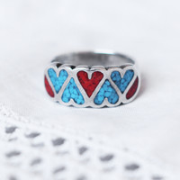 1970s Turquoise and Coral Heart Ring