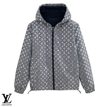 LV hot selling casual couple colorful fluorescent reflective trench coat coat LV Print White