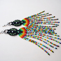Extra long micro macrame earrings - Tassel Fringe Rainbow Black Green Red Unique Jamaica inspired