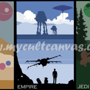 "Original Star Wars 12"" x 18"" Minimalist Movie Poster Art Prints Set of 3 by Phil Gibson"