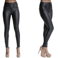 Womens Leather Stretch Skinny Pants