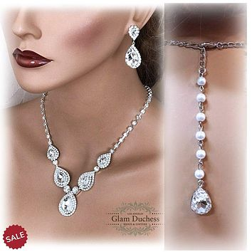 Silver Austrian Teardrop Crystal Statement Necklace Bridal Jewelry Set