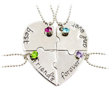 4 Pieces Heart Puzzle Stamped Friendship Necklace