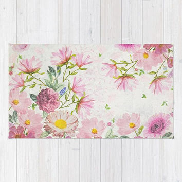 Light Pink Flowers Rug, Floral, Baby Pink Floral Rug, Pastel Area Rug, Baby Girl's Nursery Rug, Pink Apartment Decor, Daisy Polyester Rug
